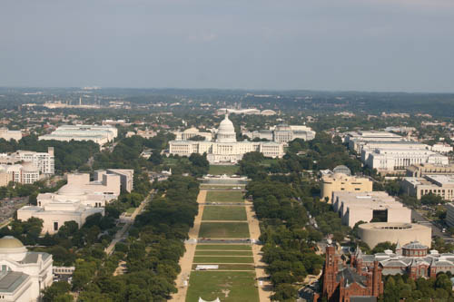 """From the Washington Monument looking past the """"mall"""" to Congress"""
